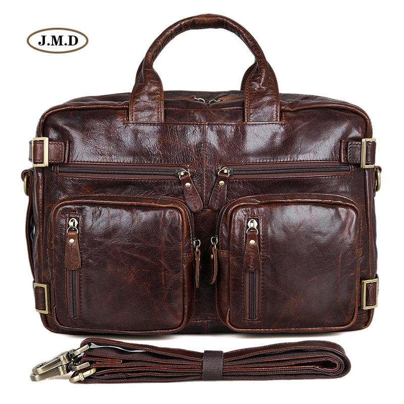 Hot Selling Genuine Vintage Leather Men's Briefcase Multifunction Handbag Multi-Compartment Design Messenger Bag 7026Q