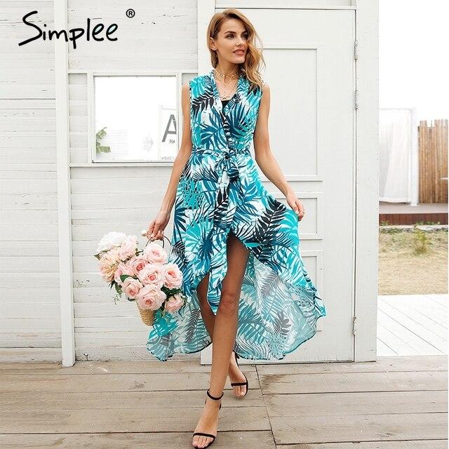 Simplee v-образным вырезом с птичьим принтом летнее платье женские пикантные рукавов Sash Maxi Wrap Dress 2018 Пляж Boho Chic длинное платье vestidos