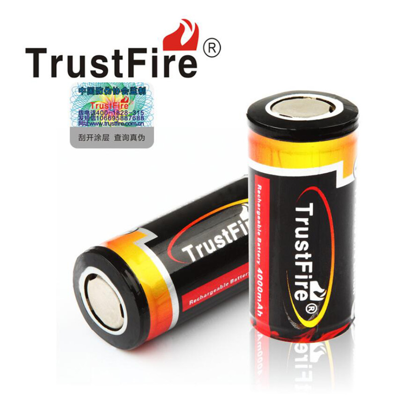 2PCS ( 1 Pair ) TrustFire 25500 3.7V 4000mAh Li-ion Rechargeable Battery Batteries with PCB Protected ( Flat Head )