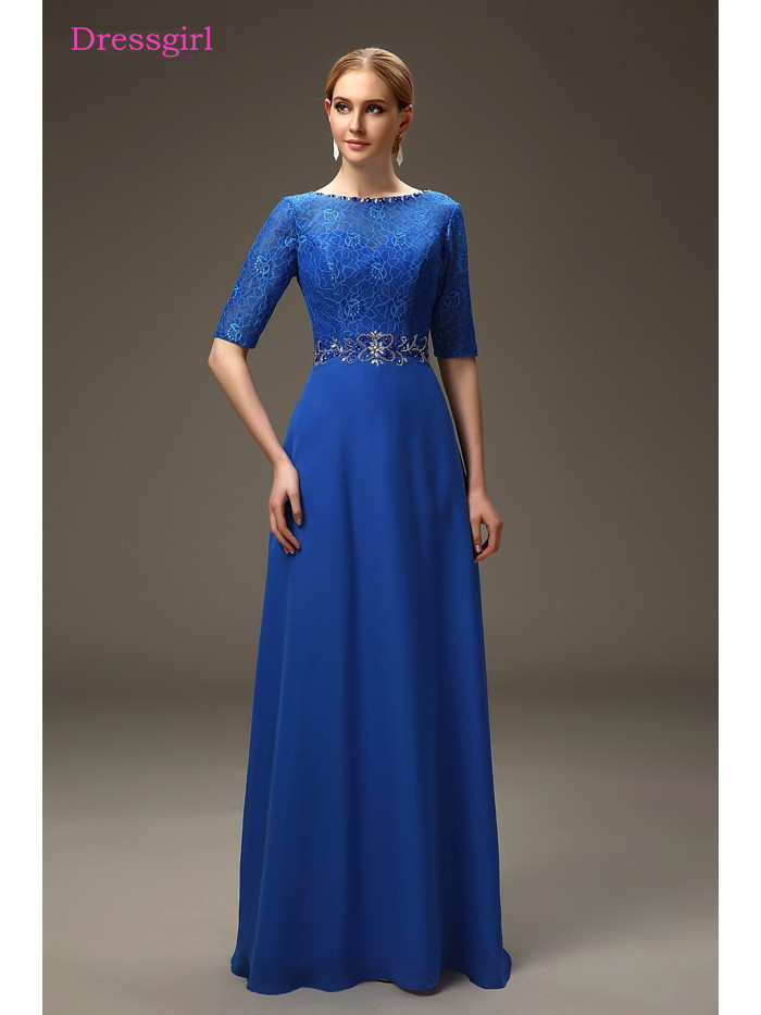 Royal Blue 2019 Mother Of The Bride Dresses A-line Half Sleeves Chiffon Lace Crystals Long Elegant Groom Mother Dresses Wedding