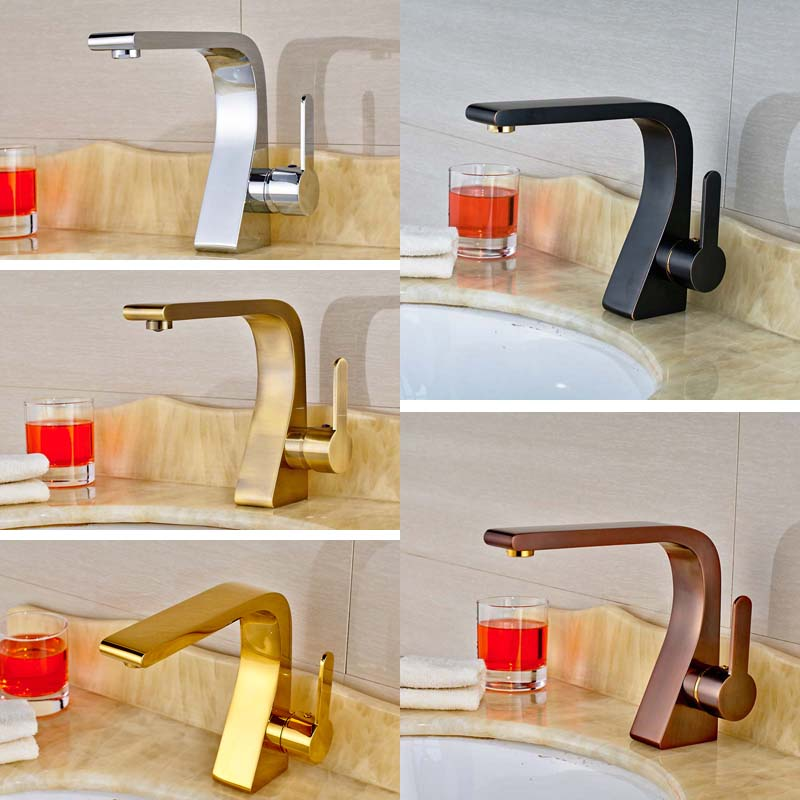 Fashionable Design Bathroom Sink Mixer Faucet W/ Hot Cold Water Antique Bronze Chrome Finish Brushed Nickel