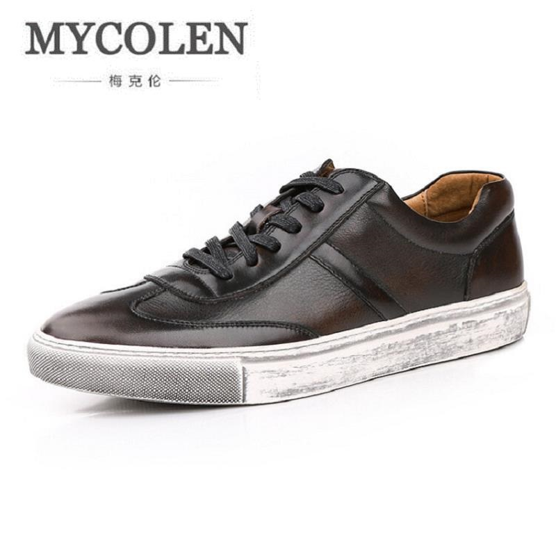 MYCOLEN Top quality Genuine Leather Men Shoes Autumn Men Casual Shoes Lace Up Men'S Low Flats Shoes Male Footwear Erkek Ayakkabi male casual shoes soft footwear classic men working shoes flats good quality outdoor walking shoes aa20135