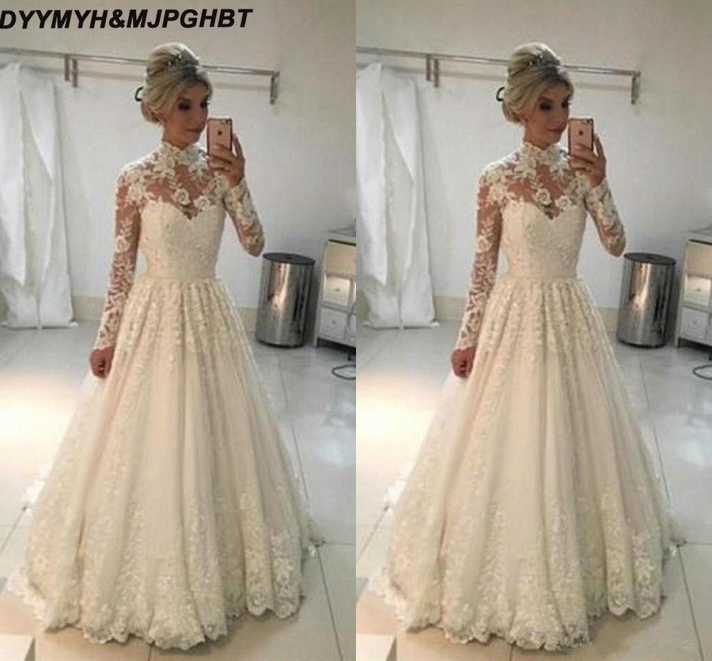 Vintage A Line Wedding Dresses: 2019 Long Sleeve Muslin Wedding Dresses Vintage A Line