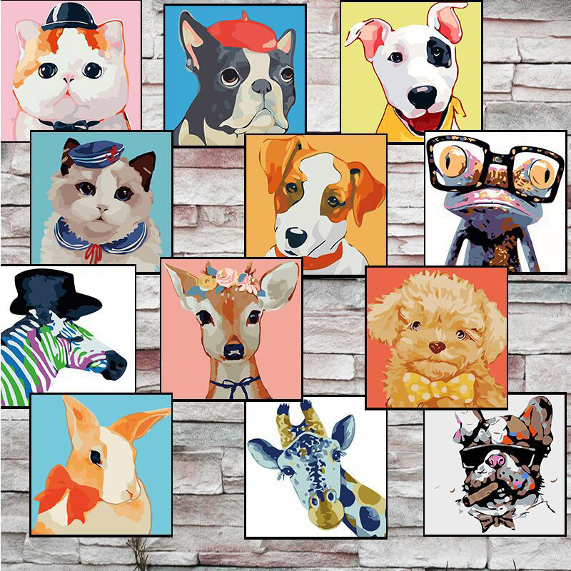 The Latest  20*20cm Frameless Home Cartoon Animal DIY Art Oil Painting by Numbers Children Handpainted on Canva