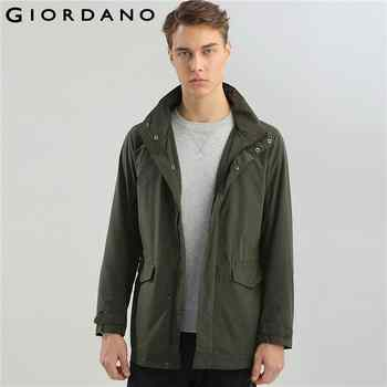 Giordano Men Jacket Detachable Hood Mid Long Overcoat Long Sleeves Pockets Coat Elastic Waistband Mens Top Brand Cloth - DISCOUNT ITEM  53% OFF All Category