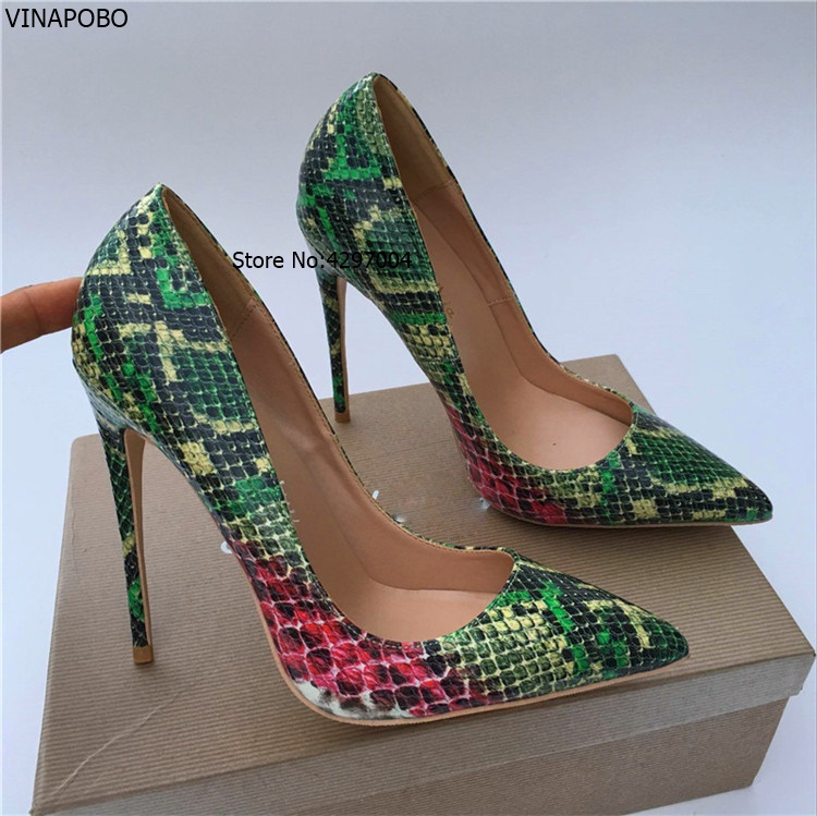 Vinapobo Women European High Heels Pumps Shoes Sexy Snake Patter Pointed Toe Stiletto Ladies patry wedding Shoes Plus Size 43