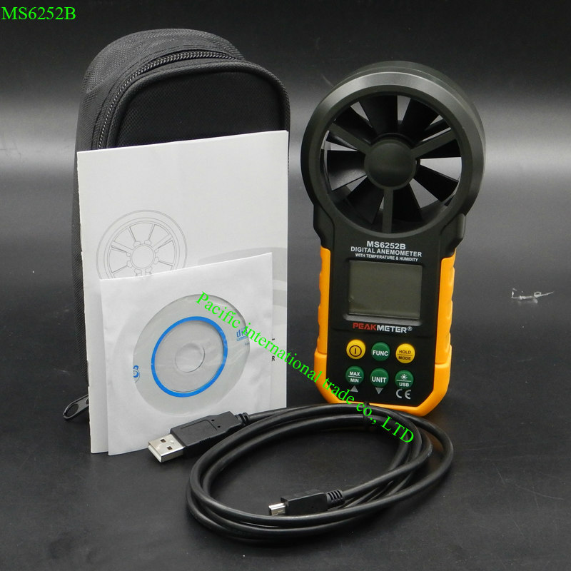 Digital anemometer air speed velocity air flow meter with air temperature air humidity RH MASTECH HYELEC MS6252B USB port 0 2000ppm range wall mount indoor air quality temperature rh carbon dioxide co2 monitor digital meter sensor controller