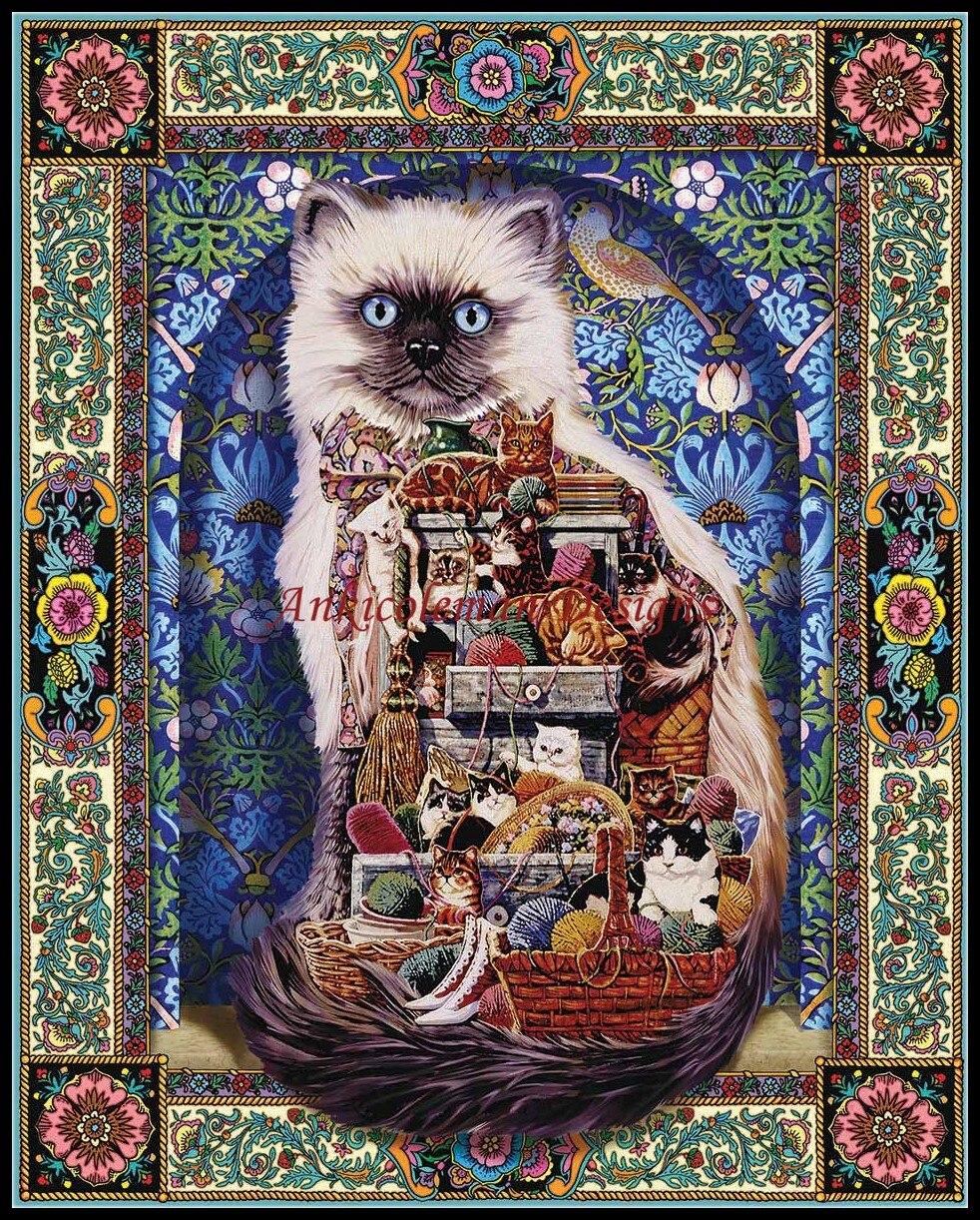 Рукоделие для вышивка DIY Французский DMC высокое качество-счетный крест Наборы 14 CT картина маслом-Товары для кошек в изобилии
