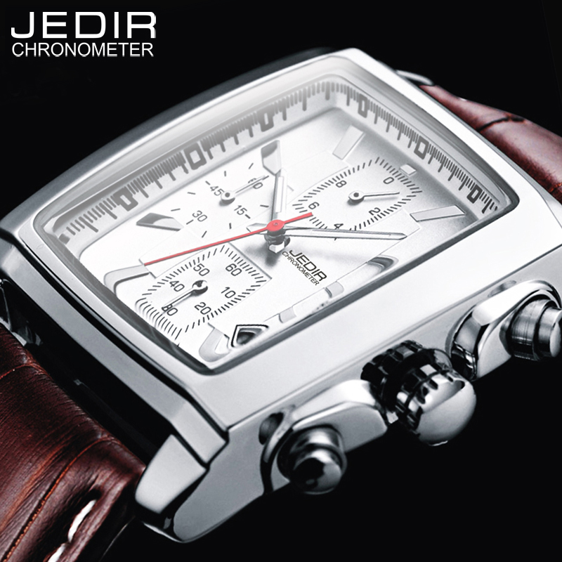 JEDIR Sports Military Men Watches 2017 Top Brand Luxury Male Clock Man Chronograph Leather Army Quartz-watch Relogio Masculino  jedir brand men sports watches 2017 genuine leather military wristwatch racing men chronograph watch male glow hands clock