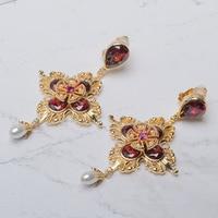 Red flower fashion ear clip drop pearl earrings