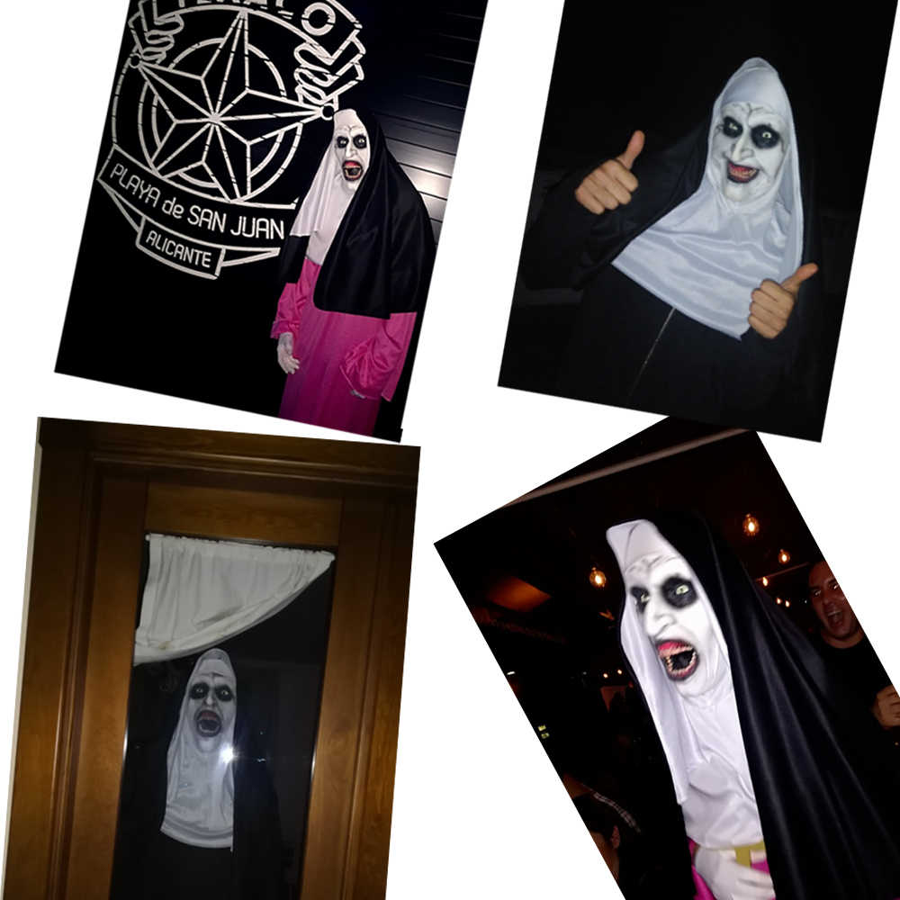 The NUN หน้ากากสยองขวัญคอสเพลย์ Valak น่ากลัว Latex หน้ากากกับ Headscarf หน้ากากฮาโลวีน PARTY Props 2018 Drop Shipping