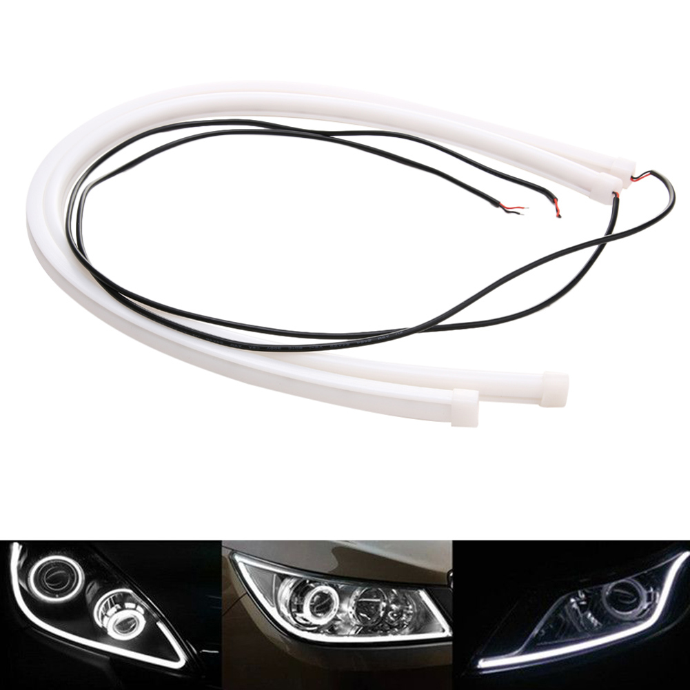 2Pcs 60cm Angel Eye Daytime Running Light Tube Universal Car-styling Soft Flexible Car LED Halo Strip DRL White Driving Lamp 12V 2017 2pcs 30cm led white car flexible drl daytime running strip light soft tube lamp luz ligero new hot drop shipping oct10