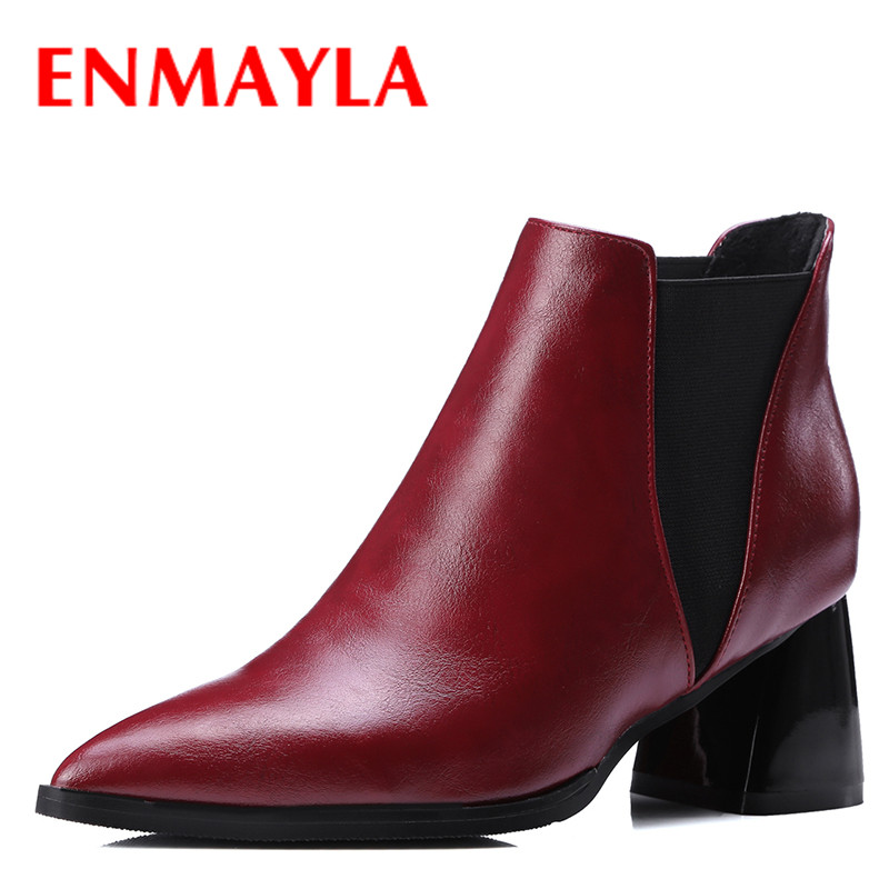 ENMAYLA Fashion Women's Slip-on Chelsea Boots Round Toe High Heels Shoes Woman Autumn Spring Black Red Ankle Boots Women enmayla autumn winter chelsea ankle boots for women faux suede square toe high heels shoes woman chunky heels boots khaki black