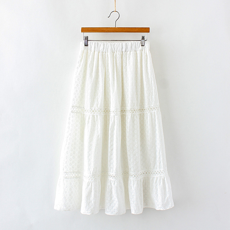 White Skirt Fairy Embroidery Lace Hollow Out Cotton A-Line Skirt Mori Girl 2019 Summer
