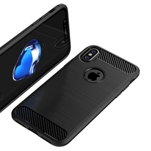 For iPhone X Brush Case Soft TPU Hybrid Shock Proof Case Back Luxury Black Cover for iphone 7 / 8 plus for iphone 6 6s 10pcs/lot