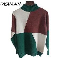 купить!  DISIMAN Свитер женщин половина водолазка многоцветный узкий эластичный вязаный мягкий пуловер свитер