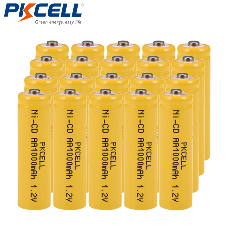 20 PCS PKCELL <font><b>1.2V</b></font> <font><b>AA</b></font> Ni-Cd <font><b>Battery</b></font> 1.2Volt 1000mAh 2A <font><b>NiCd</b></font> Rechargeable Industrial <font><b>Batteries</b></font> Button top image
