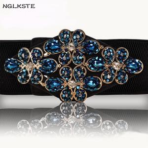 Señoras diseñador de moda de lujo diamante faja atmósfera elástica ancha falda de cintura colocación alta calidad vestido cinturón correas
