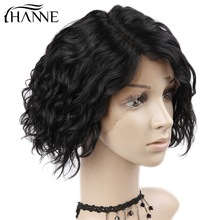 HANNE Lace Front Mänskliga Hårperor For Women Natural Black Pre Plucked 130% Täthet Natural Wave Brazilian Frontal Wig Side Part