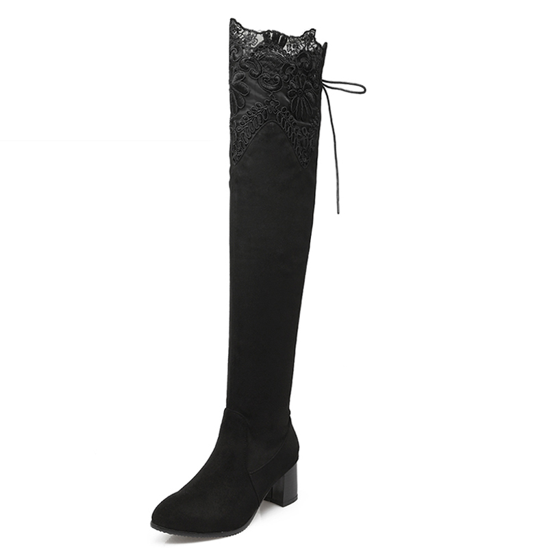 Plus Size 34-46 Sexy Lace Knot Thick Heels Over The Knee Boots Add Fur 2016 Fashion Winter Boots Female Footwear Shoes Woman plus size 34 47 elegant thick high heels buckle short boots add fur fashion lace up skid proof platform fall winter shoes woman