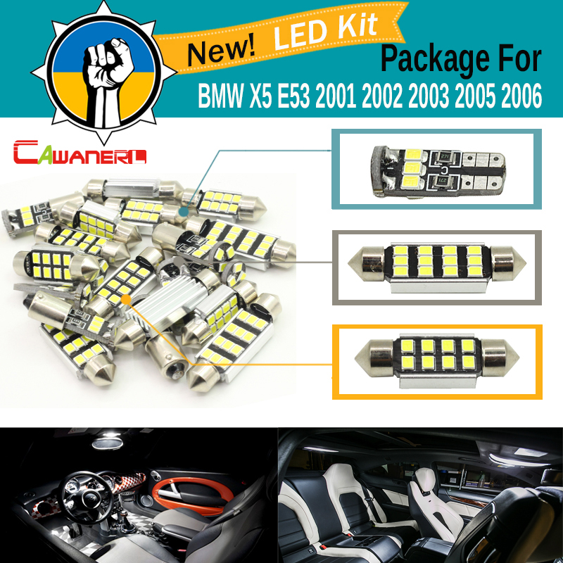Cawanerl Car 2835 SMD Error Free LED Bulb Canbus Interior LED Kit Package White For BMW X5 E53 2001 2002 2003 2005 2006 wljh white ice blue canbus error free car interior lighting trunk mirror led light kit for bmw e36 328i 325i 1992 1998 15pcs