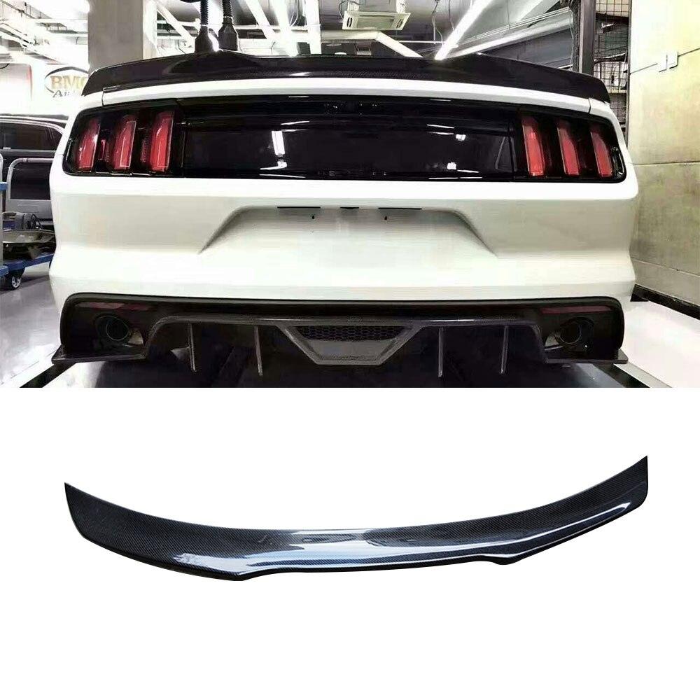 Углеродного волокна задний спойлер Крылья для Ford Mustang GT V8 V6 GT350R купе 2015 2016 2017 задний багажник boot спойлер автомобиля укладки