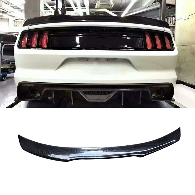 Carbon Fiber Rear Lip Spoiler Wings for Ford Mustang GT V8 V6 GT350R Coupe 2015 2016 2017 Rear trunk boot spoiler B Style