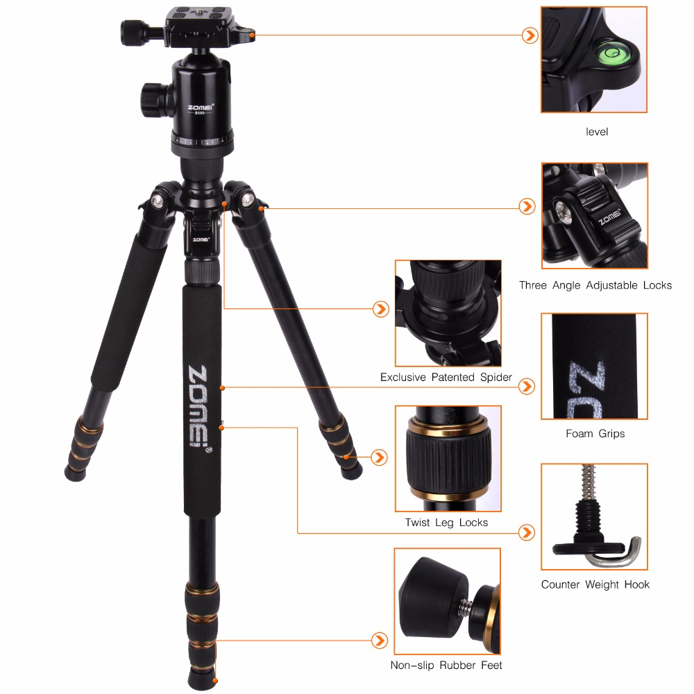Zomei Z688  Professional Photographic Travel Compact Aluminum Heavy Stable Tripod Monopod Ball Head For Digital DSLR Camera
