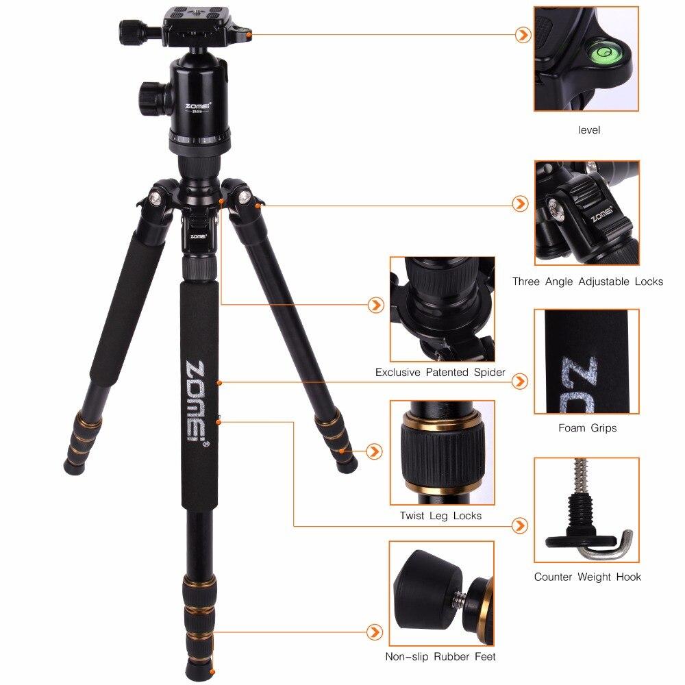 Zomei Z688 profesional de viaje fotográfico compacto de aluminio pesado trípode estable Monopod cabeza de bola para cámara Digital DSLR - 4