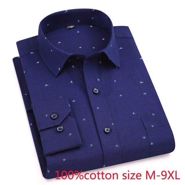 Chegada nova Impressão Primavera outono formal dos homens Extra Grande de Algodão Puro Camisas longas da luva de alta qualidade plus size 4XL5XL6XL7XL8XL9XL