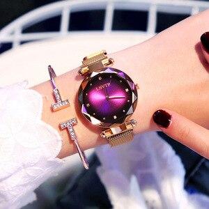 Image 1 - 2019 luksusowe różowe złote zegarki kobiety bransoletka moda diamentowa sukienka damska Starry Sky magnetyczny zegarek kwarcowy relogio feminino