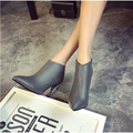 2015 ultra high heels thin heels boots zipper back ankle-length boots PU pointed toe shoes