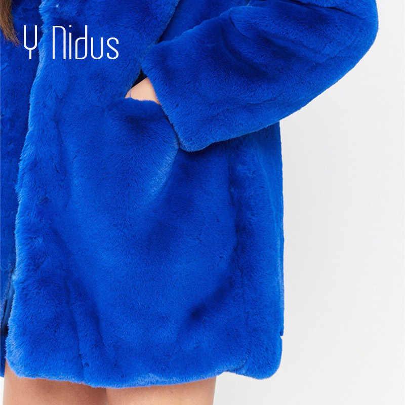 Kürk Ceket Kış Kadın Karışımı Palto 2018 Kabarık Faux Kürk Sıcak Dış Giyim Ceket Uzun Kollu Ceket Cepler Hırka Casaco Feminino