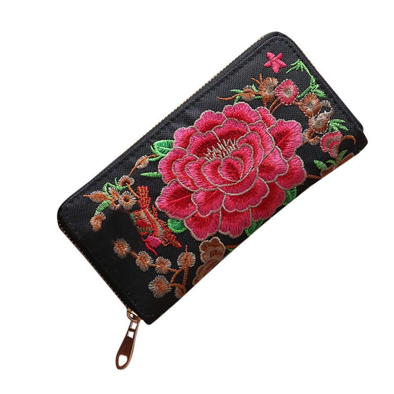 2019  Women Fashion Single Pull Embroidery Ethnic Style Wallet Card Bag Coin Bag  #0
