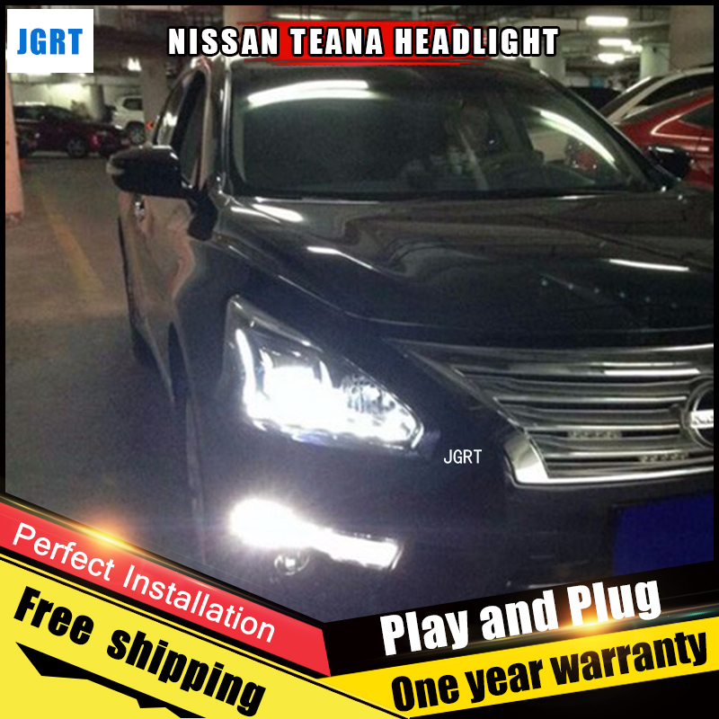 JGRT Car Style LED headlights for Nissan Altima 2013-2015 for head lamp LED DRL Lens Double Beam H7 HID Xenon bi xenon lens hireno headlamp for 2013 2015 nissan tiida headlight assembly led drl angel lens double beam hid xenon 2pcs