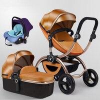 Мультифункциональный Роскошная детская коляска 3 в 1 с автомобильным сиденьем с высоким ландшафтом может сидеть сложить двухстороннюю детс