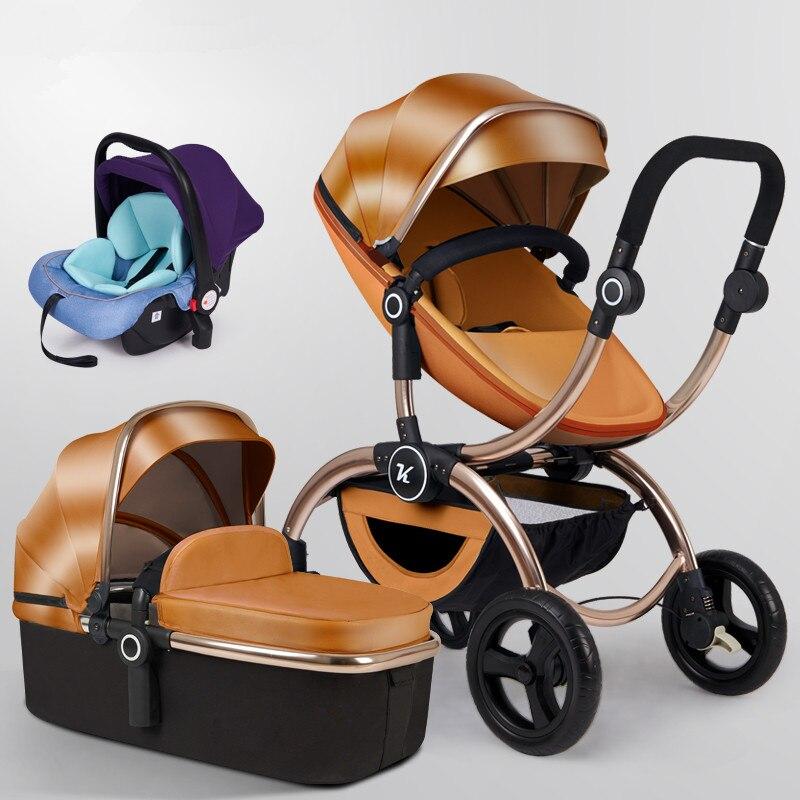 Multifonctionnel luxe bébé poussette 3 en 1 avec voiture siège chariot haut paysage peut s'asseoir pli bidirectionnel bébé chariot pour nouveau-né