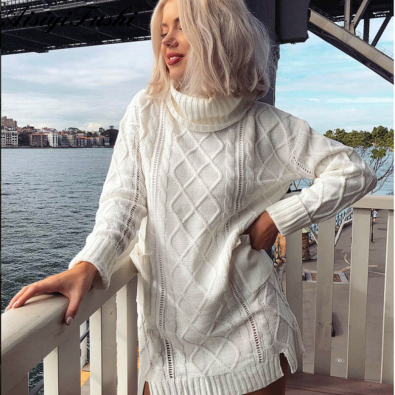 544087e903f Women s White Turtleneck Sweater Hollow Out Coarse Cable Knit Oversized  Sweater Dress Winter Women Warm Baggy Sweater Female-in Pullovers from  Women s ...