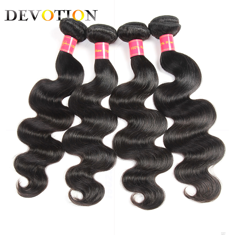 Devotion Hair Mongolian Body Wave 4 Bundles 100% Human Hair Extensions Natural Color Weave Bundles Hair 8-26 inch Non Remy Hair