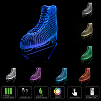 Novelty Roller Skates 3D Boots Night Light 7 Color Change LED Table Lamp Xmas Toy Gift