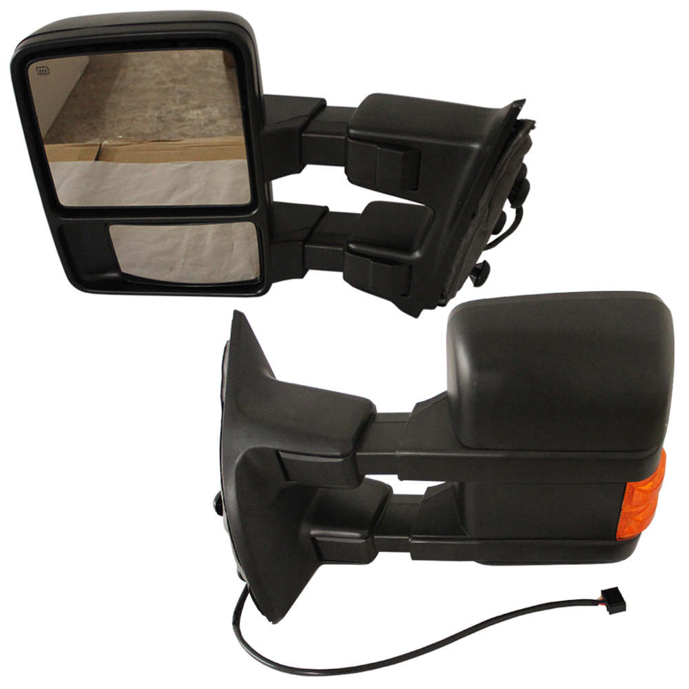 Free shipping king way pair power heated turn signal towing side mirror for 2008
