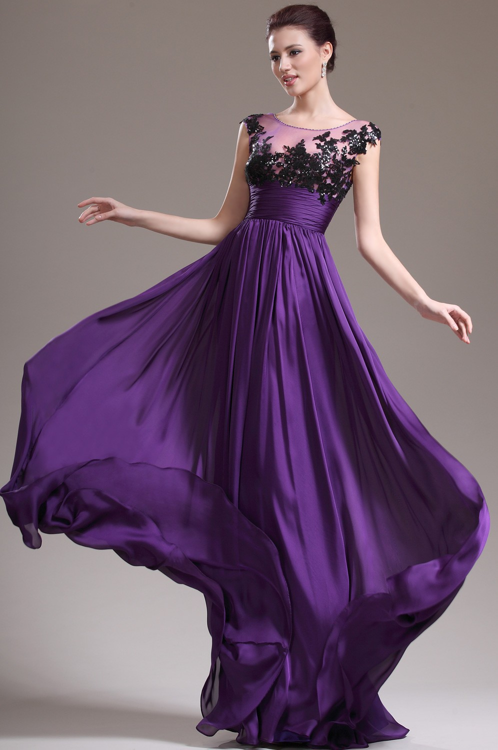 Black and purple evening dresses