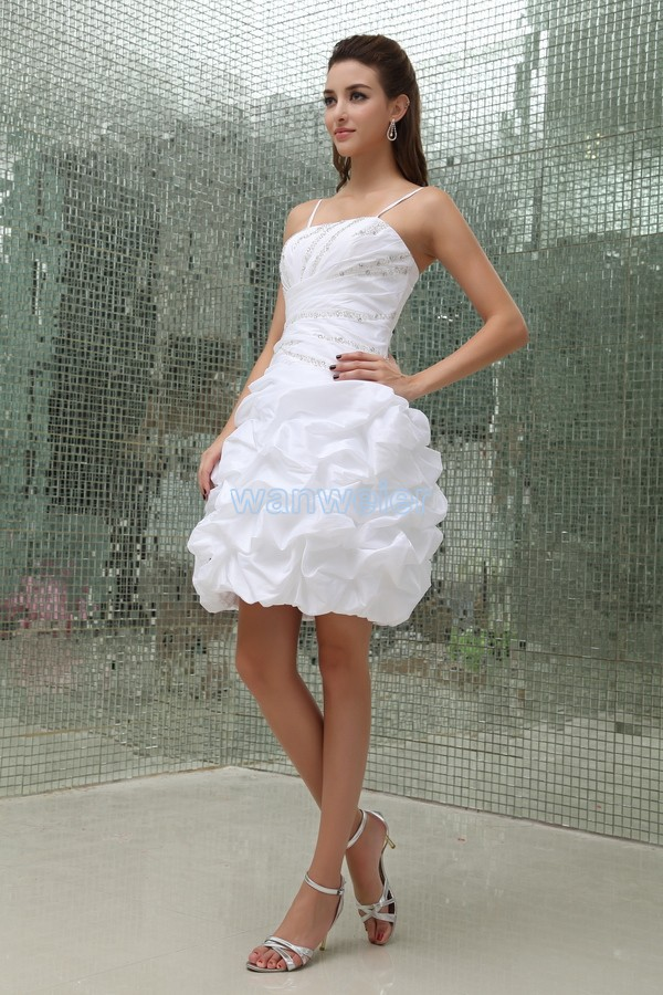 free shipping 2016 new design vestidos formales handmade brides maid   dress   white taffeta party sexy short mini   Cocktail     Dresses