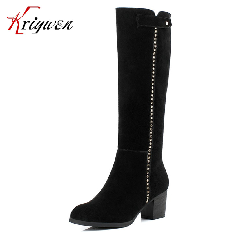 CN size33-41 winter warm women motorcycle Boots cow split punk rivets high heels Knee high Boots casual british style lady Shoes