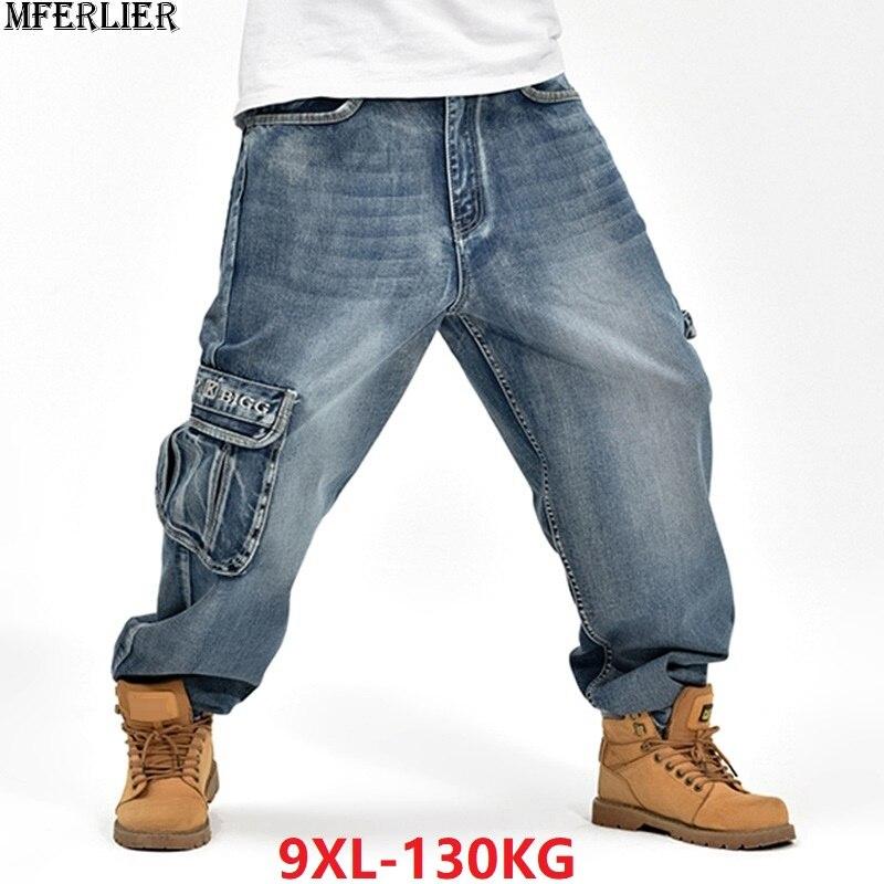 Mferlier Herren Sommer Jeans Tasche Hüfte Hop High Street Dance Denim Hosen Blau Plus Größe 7xl 8xl 9xl 44 46 Skateboard Jeans Kühlen