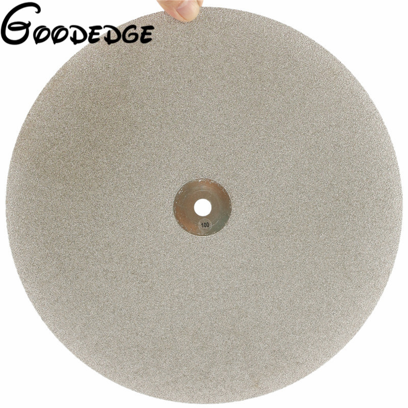 12 inch300mmGrit 100 Electroplated Diamond Grinding Disc Wheel Coated Flat Lap Disk Lapidary Tools for Gemstone Jewelry Glass