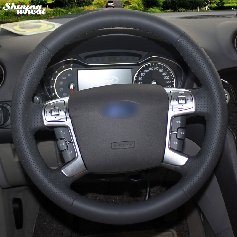 Shining wheat Hand-stitched Black Leather Car Steering Wheel Cover for Ford Mondeo 2007-2012 Mk4 shining wheat black genuine leather car steering wheel cover for fiat bravo 2007 2011