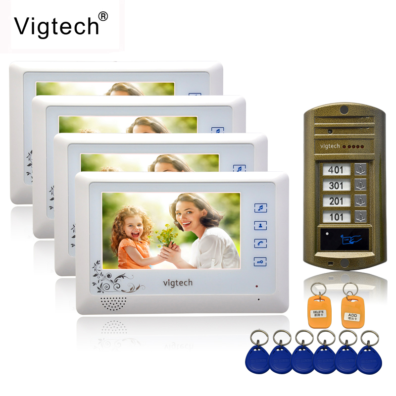 Vigtech 7'' Color Video Door Phone 4 Monitors With 1 Intercom Doorbell Can Control 4 Houses For Multi Apartment RFID Camera