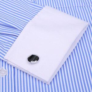 Image 2 - 高品質ストライプ男性フレンチカフスカジュアルドレスシャツ長袖ホワイトカラーデザインスタイルウェディングタキシードシャツ 6XL