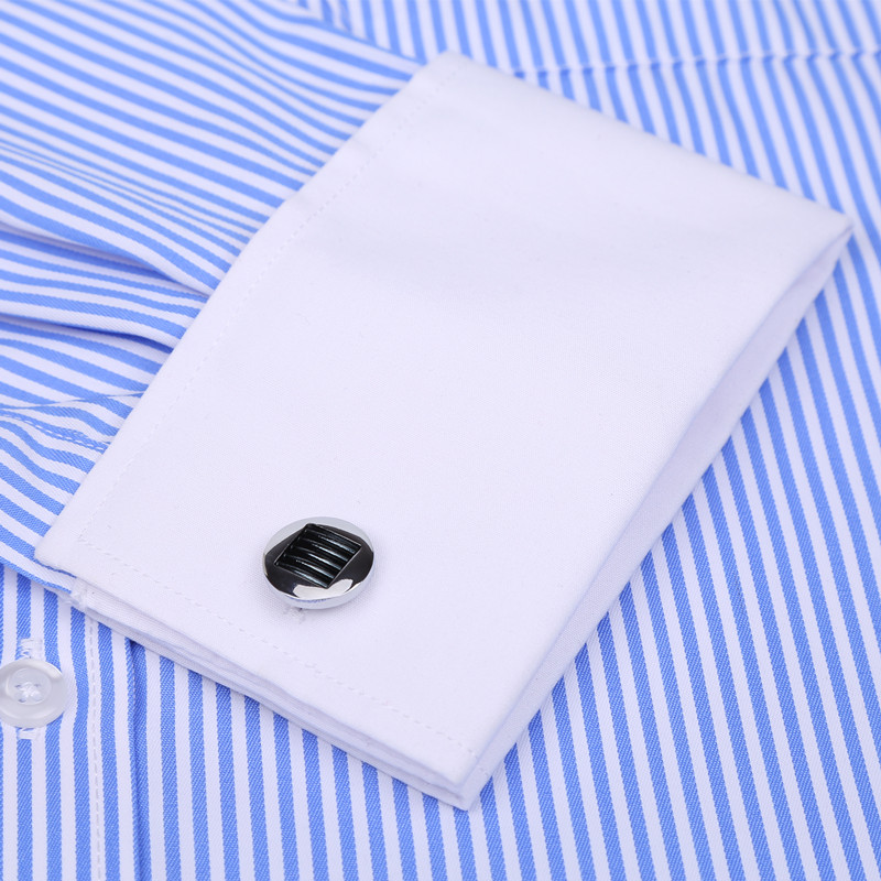 Image 2 - High Quality Striped Men French Cufflinks Casual Dress Shirts Long Sleeved White Collar Design Style Wedding Tuxedo Shirt 6XL-in Dress Shirts from Men's Clothing